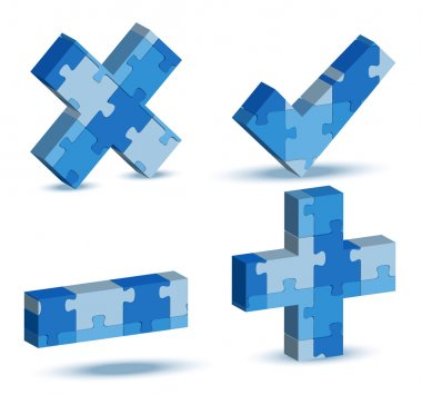 EPS 10 Vector Illustration of plus, minus, delete, check icon in puzzle clip art vector