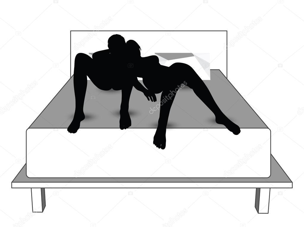 Silhouette Von Ein Paar Frau Mann Im Bett Stockvektor