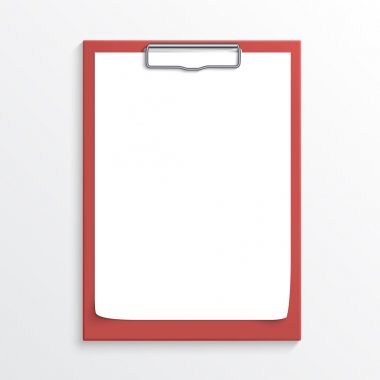 Realistic red clipboard with blank paper sheet isolated on white stock vector