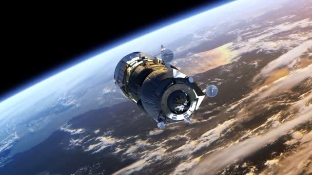 Spacecraft Progress deploys solar panels.