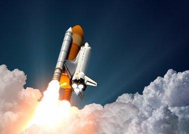 Space Shuttle Launch. 3D Scene. stock vector