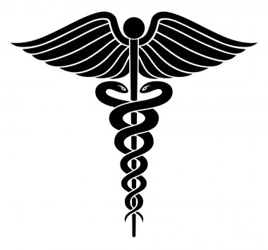 Illustration of a Caduceus medical symbol in black and white graphic style. stock vector