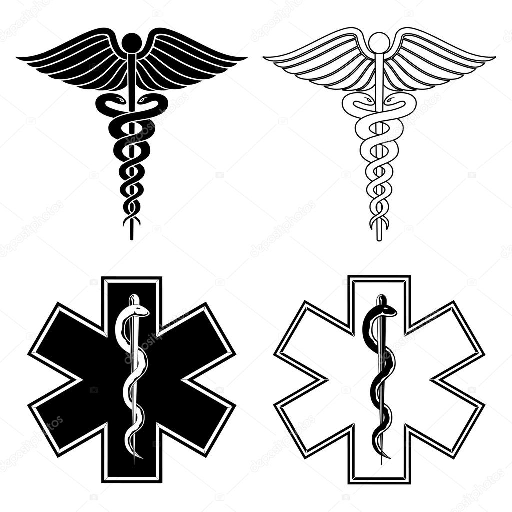 Caduceus and Star of Life Medical Symbols