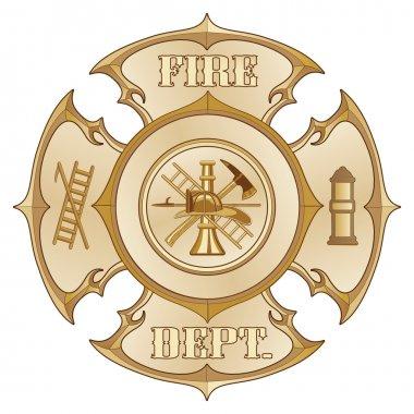 Fire Department Cross Vintage Gold