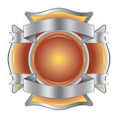 Firefighter Cross with Ribbons is an illustration of a firefighter Maltese cross made of gemstone with silver ribbons at the top and bottom.