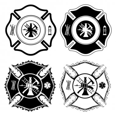 Firefighter Cross Symbols is an illustration of four versions of the Firefighter Cross symbol in one color. Vector format is easily edited or separated for print and screen print.