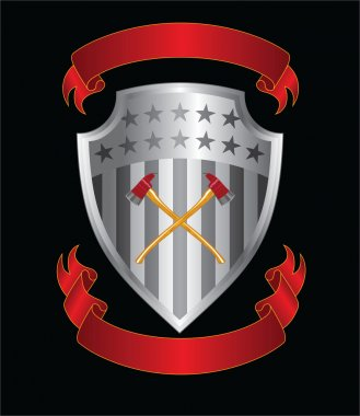 Firefighter Axes On Shield is an illustration of a silver stars and stripes shield with crossed firefighter axes and two ribbons or banners.