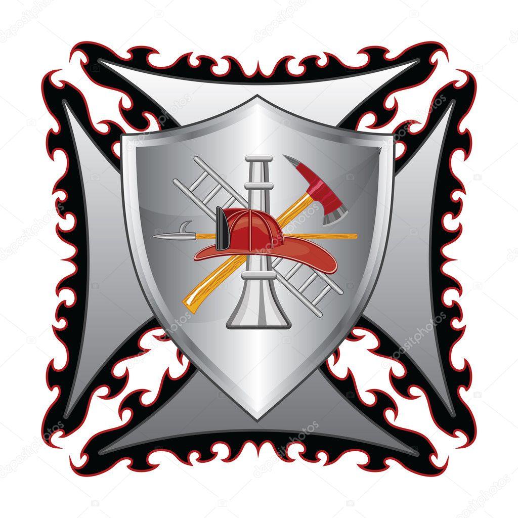 Firefighter cross with shield is an illustration of a fire firefighter cross with shield is an illustration of a fire department or firefighterltese cross symbol with shield and firefighter logo biocorpaavc