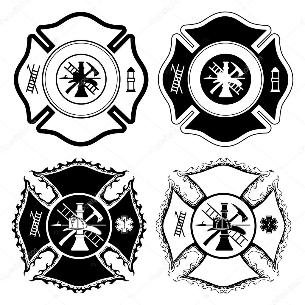 firefighter cross symbols is an illustration of four versions of