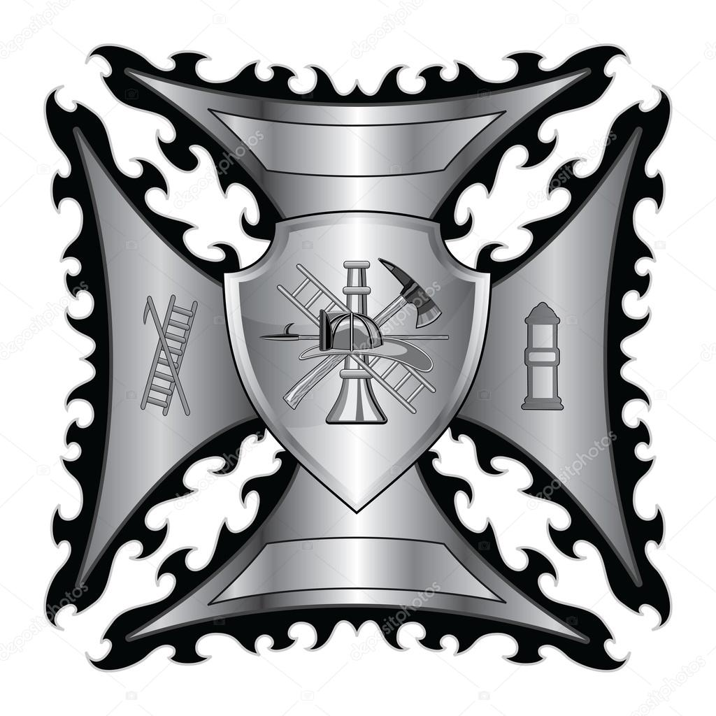 Firefighter cross with shield is an illustration of a fire firefighter cross with shield is an illustration of a fire department or firefighterltese cross symbol with shield and firefighter logo buycottarizona Choice Image