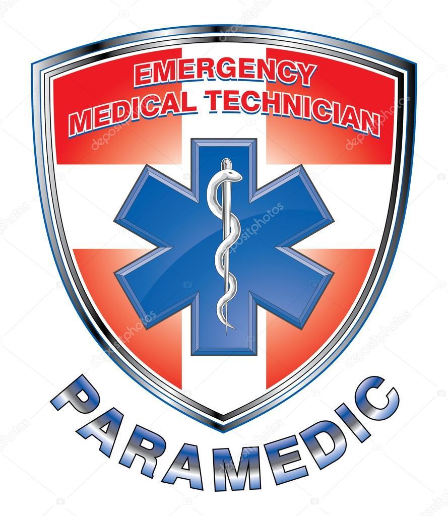 Escudo de EMT paramédico diseño médico — Vector de stock