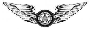 Illustration of a wheel with wings design. Great for t-shirts designs and other automobile racing designs. stock vector