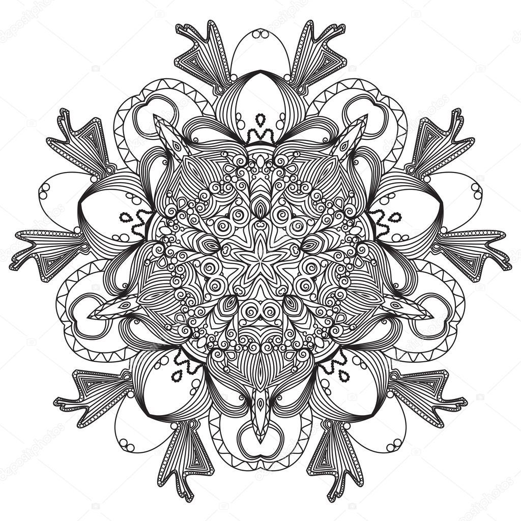 patrón de encaje redonda ornamentales, fondo del círculo con muchos ...