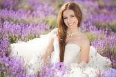 Fényképek gyönyörű menyasszony az esküvő napján a levendula mező
