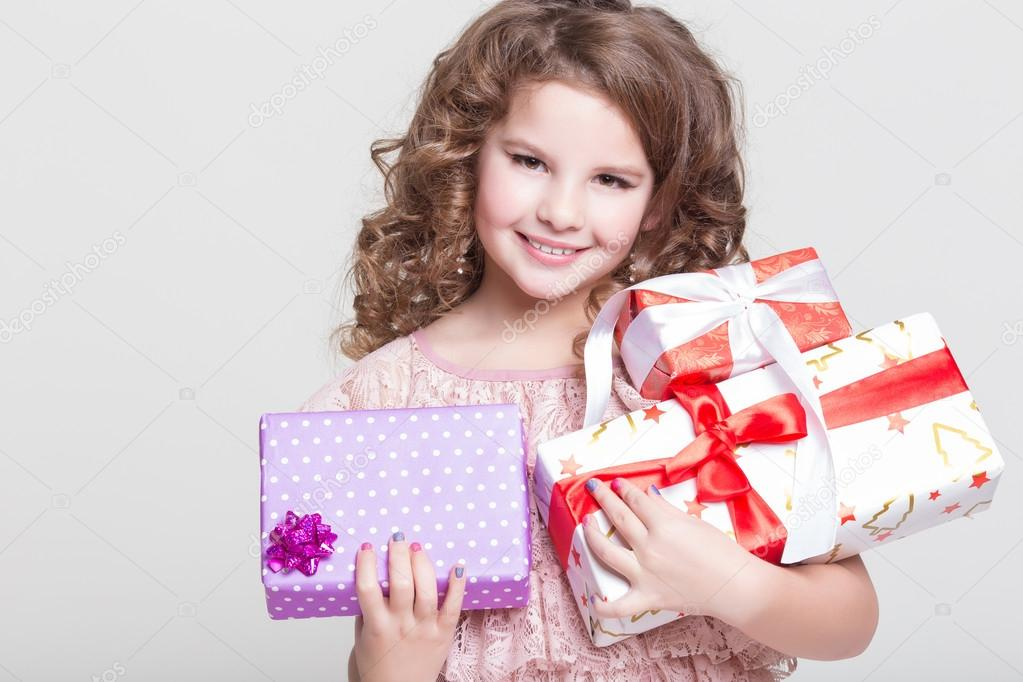 Cute Little Girl With Birthday Gift Box Happy Child Gifts Glamour Baby Hold Presents Photo By Armina Udovenko