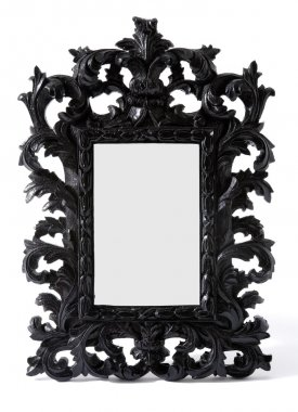Baroque black painted carved wood mirror frame