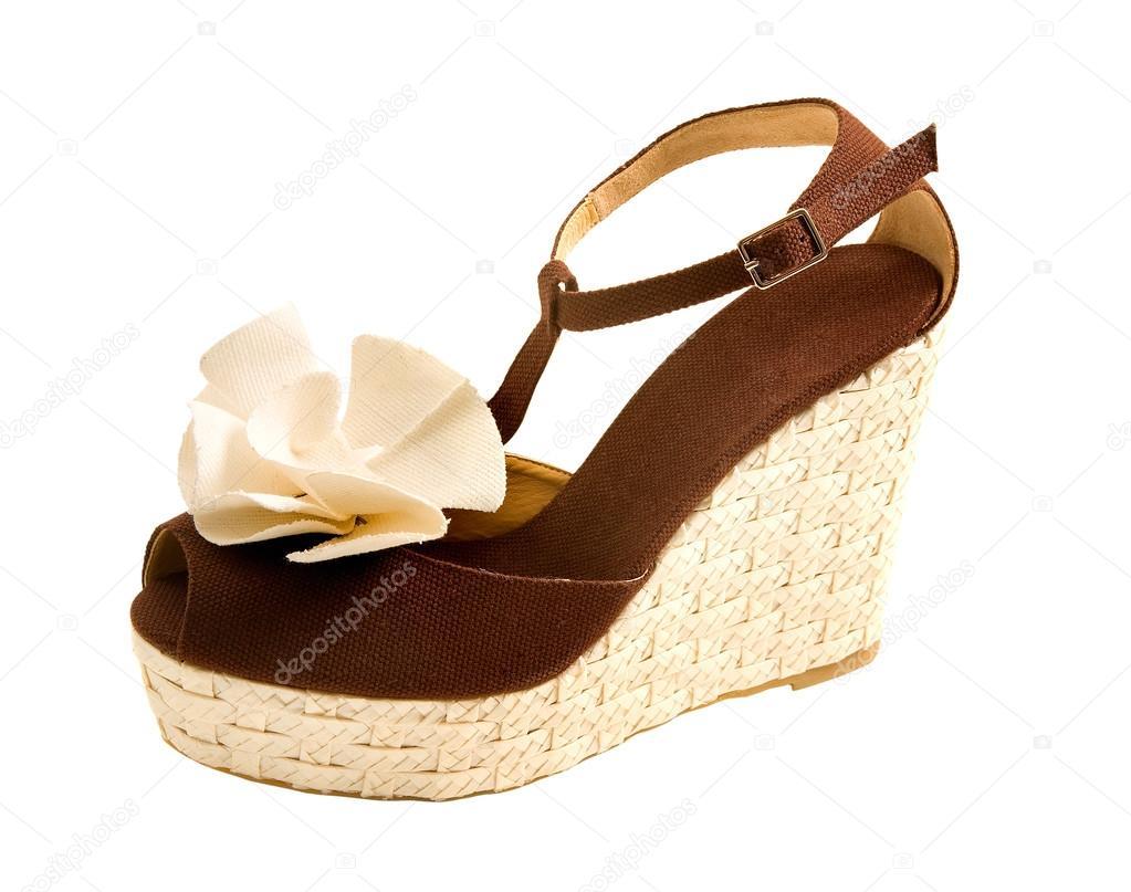 Stock Toe — Peep Rafia Tela Sandalia Foto Cuña Con De Rosa cA45jLSR3q