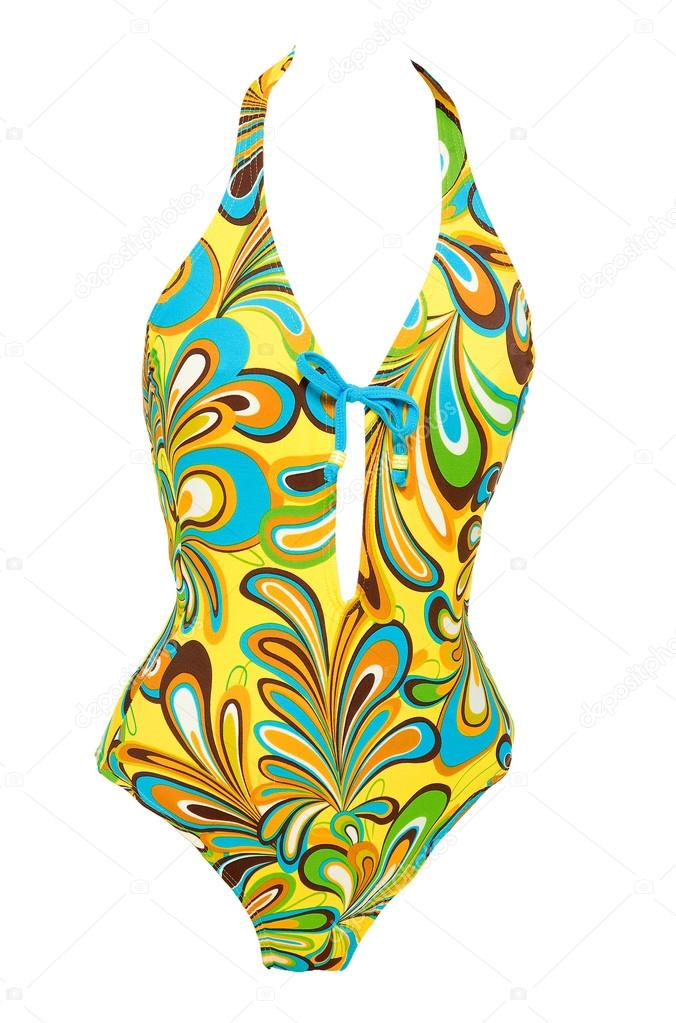 dcb7bb721b6 Vintage psychedelic abstract liquid pattern front lace-up halter swimsuit isolated  on white background. Clipping path included. — Photo by Lalouetto