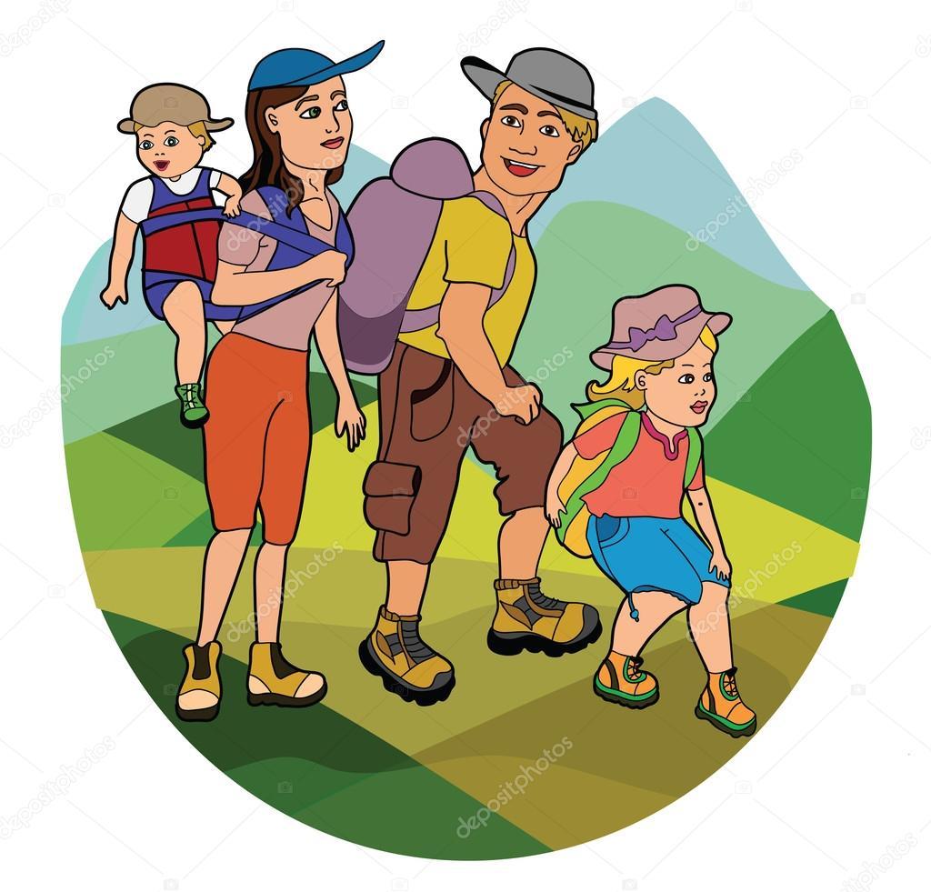 family on hike � stock vector 169 iriselmo 26537249