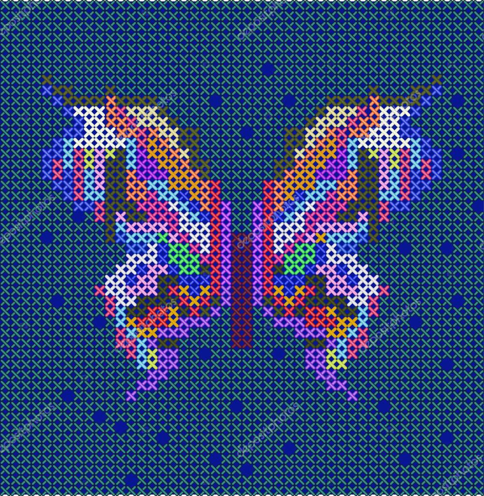 Cross-stitch ethnic butterfly