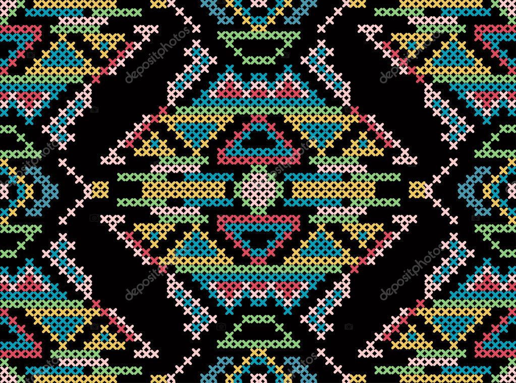 Cross-stitch ethnic ornament
