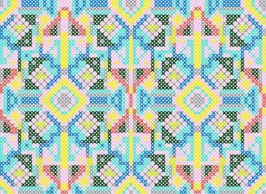 Cross-stitch ethnic seamless pattern