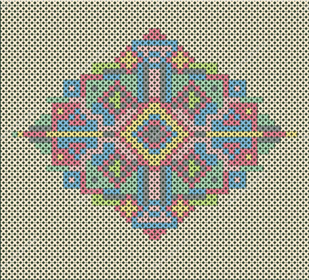 Cross-stitch ethnic ornament