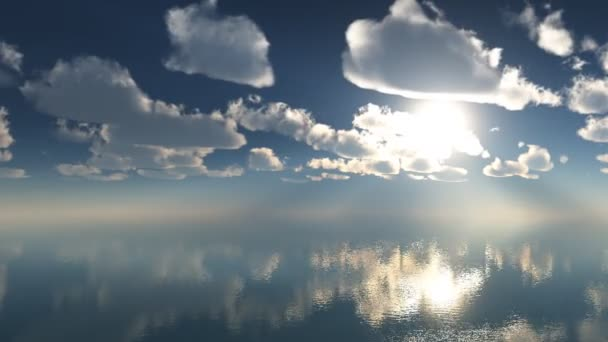 Clouds over the sea, 3d animation. Time lapse