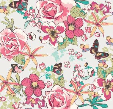 vintage flower pattern vector background