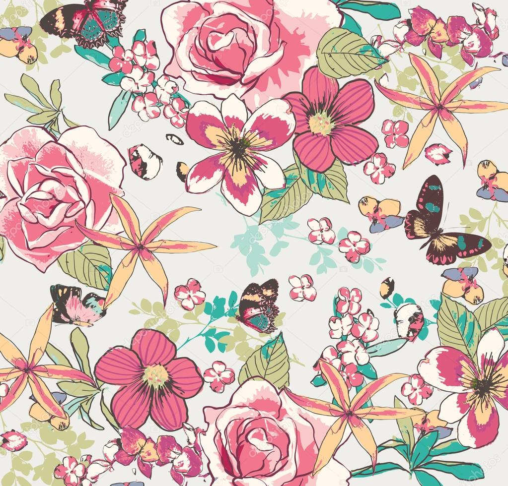 vintage flower pattern vector background