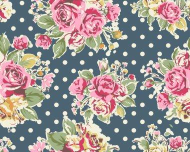 pink vintage rose with dot pattern background