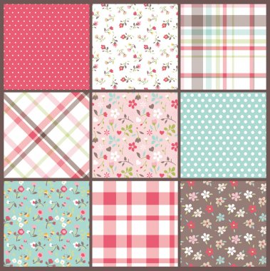 Set of nine orated seamless cute tiny floral,flowers with check and dots texture vector background