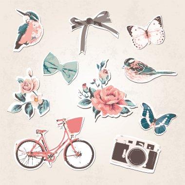 Vintage things set-birds,bows,flow ers,bike,camera,but terflies on grunge background