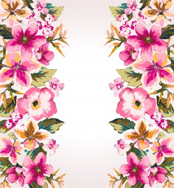 tropical summer flower,mirror effect vector pattern background