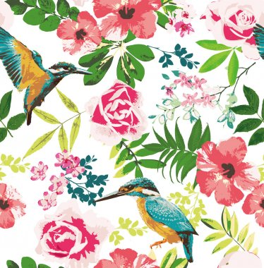 Seamless tropical floral pattern background