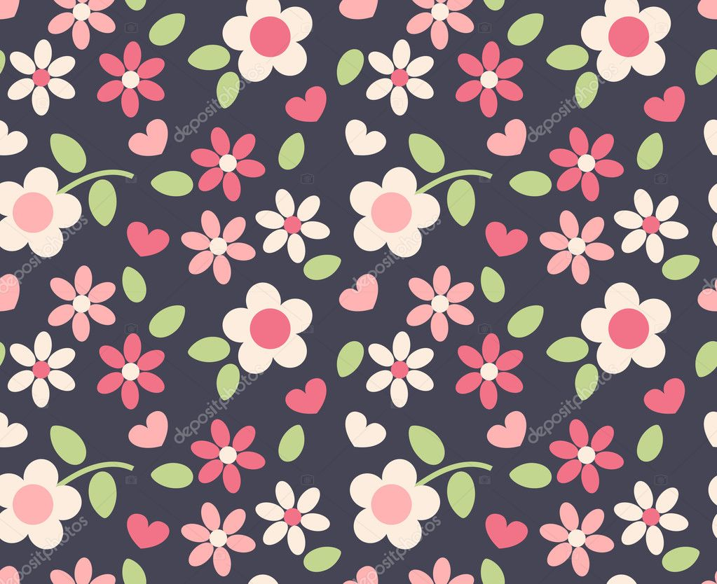 Spring cute flowers seamless pattern background