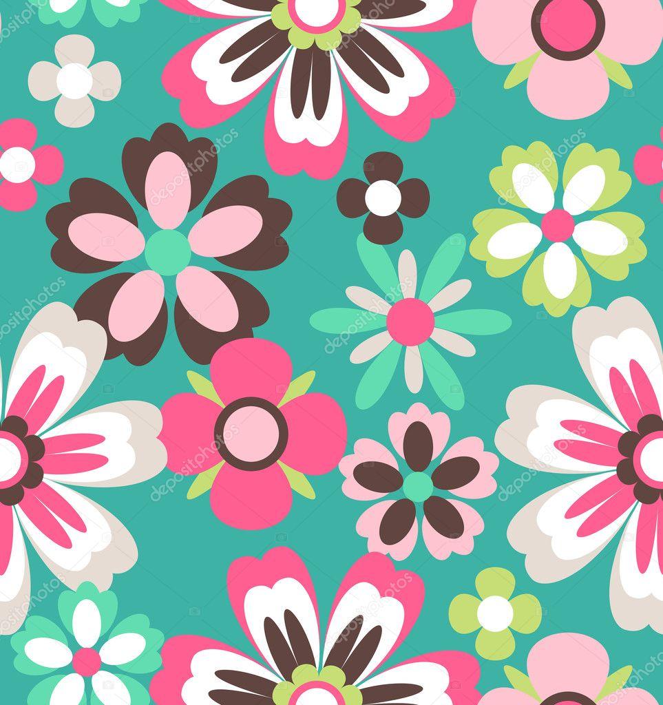 Seamless spring retro flower vector pattern background