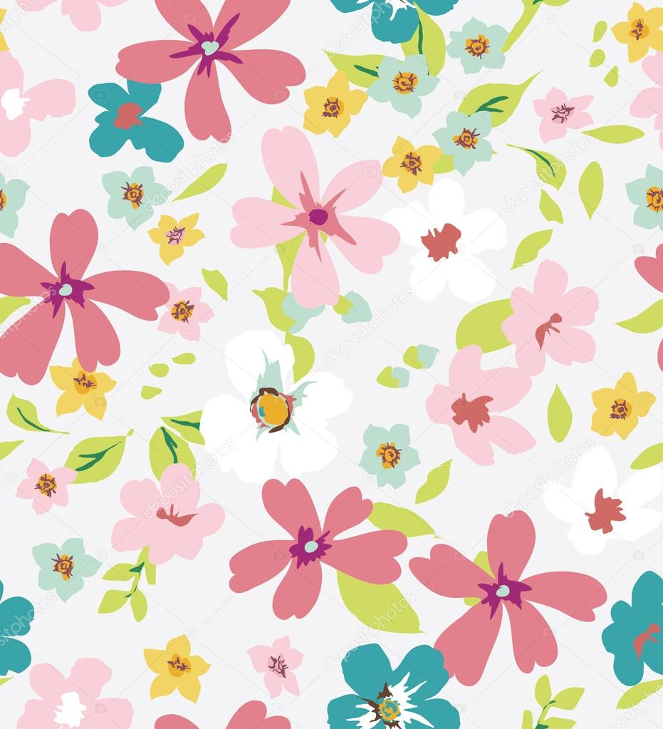Spring colorful seamless tiny flower,floral pattern background