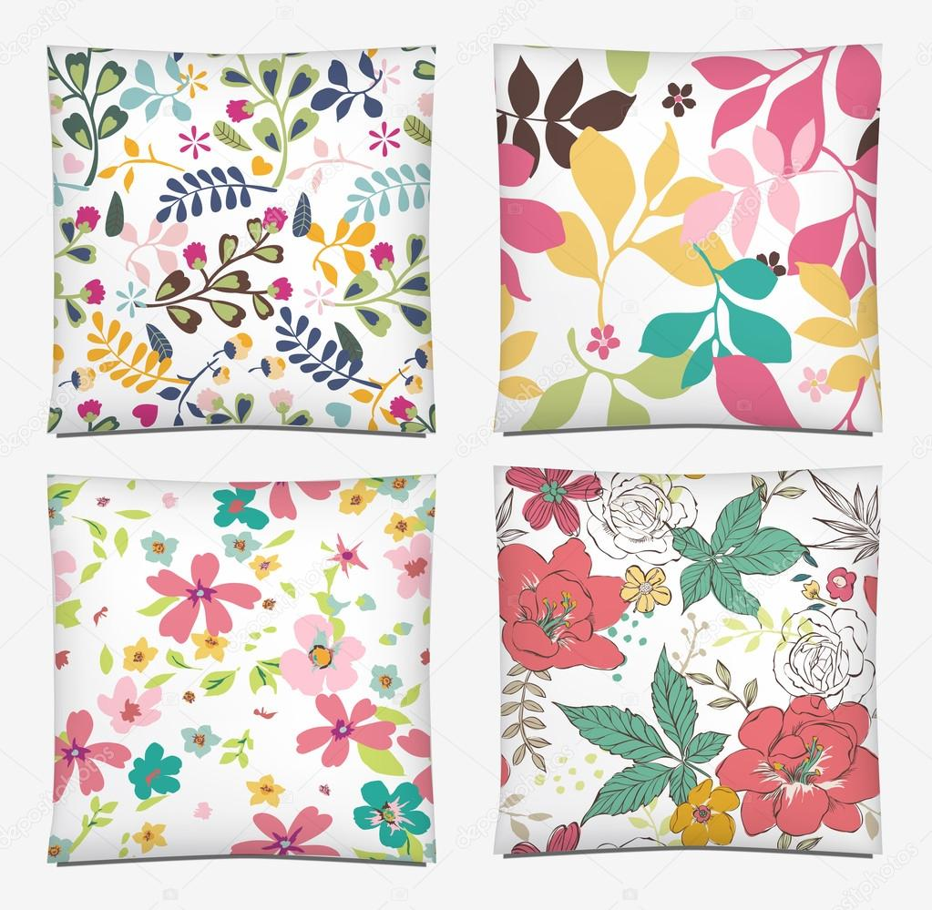 Set of four ornated color throw pillow cover pattern background