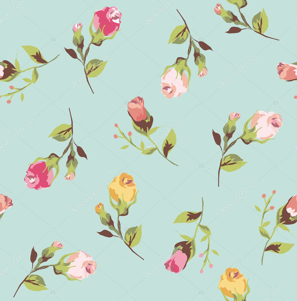 Classic wallpaper seamless vintage flower pattern on dark color background