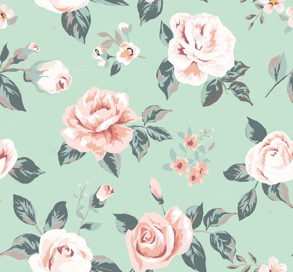 Classic Wallpaper Seamless Vintage Flower Pattern On Green Background Stock Vector C Salomenj