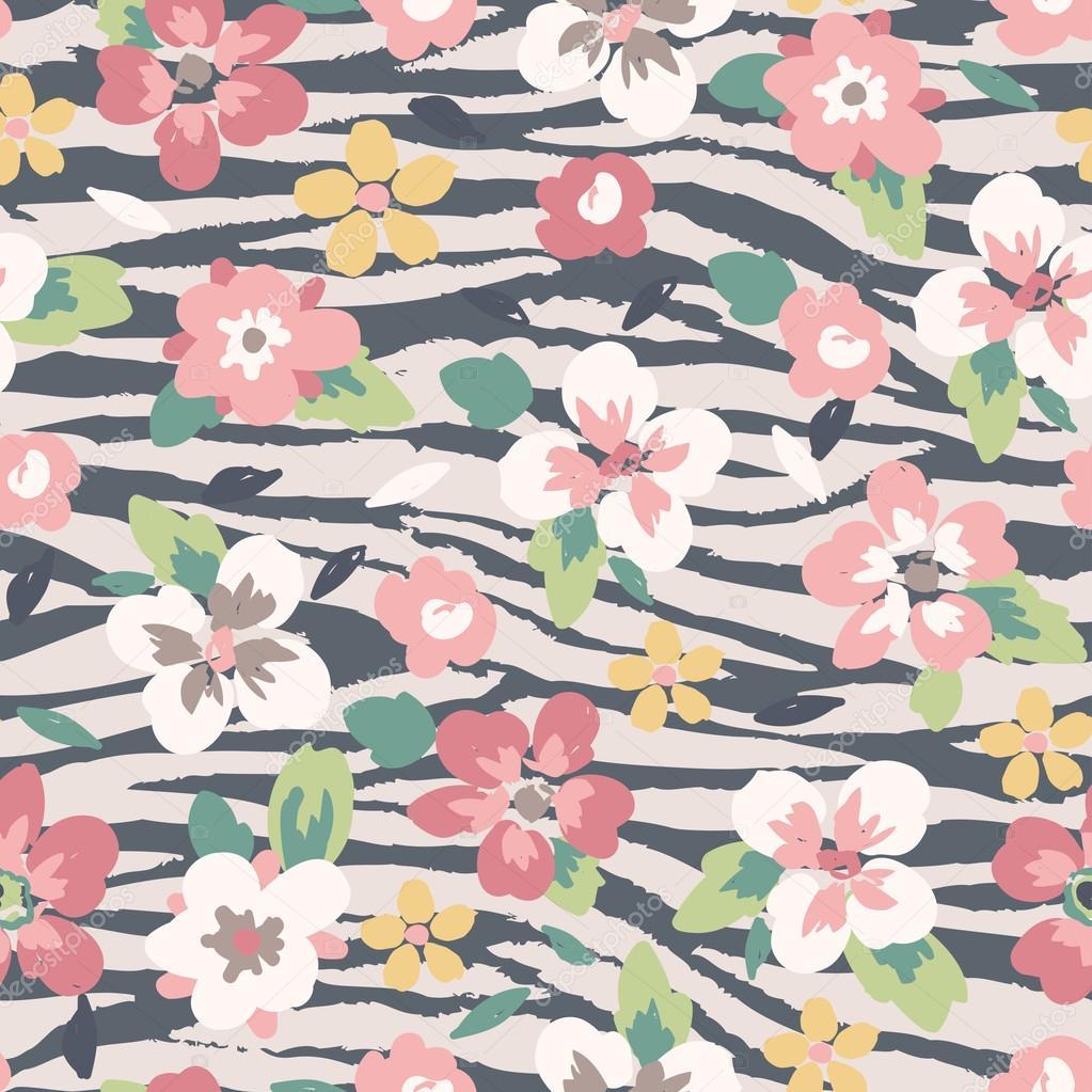 Cute flower mix zebra seamless pattern background