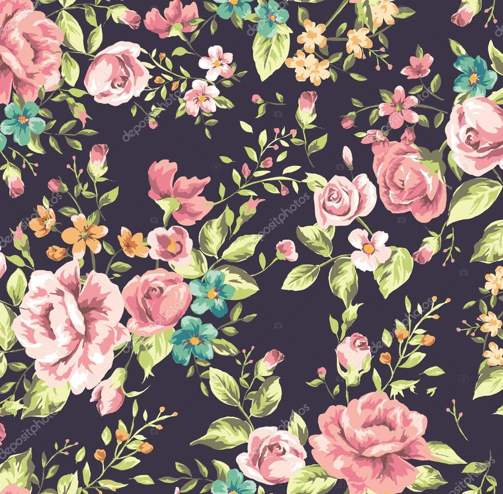 depositphotos 27947249 stock illustration classic wallpaper vintage flower pattern - Tapete Rosenmuster