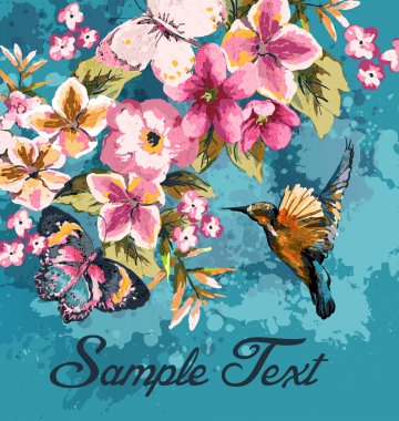Greeting card with bird and floral on blue grunge background