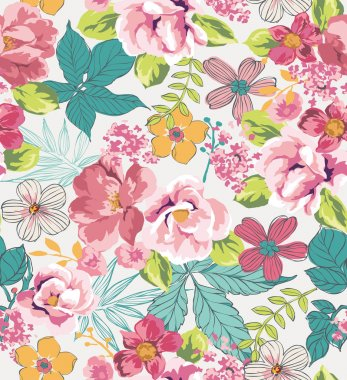 Seamless tropical floral background vector pattern
