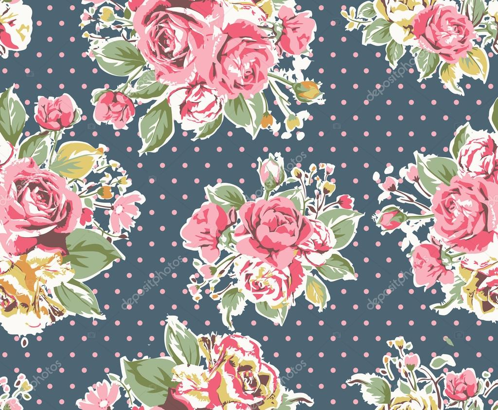 Seamless pink vintage rose pattern on dot background ...