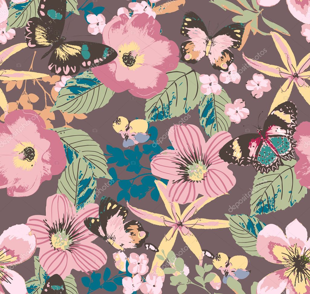 Seamless hibiscus botanical floral tropical with butterfly on brown background