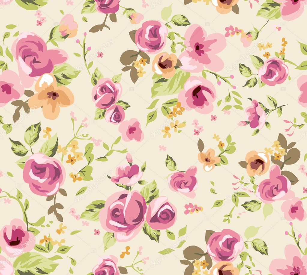 Cute spring flower - Seamless Spring Cute Tiny Vintage Floral Flower Pattern Background Stock Vector 39389223