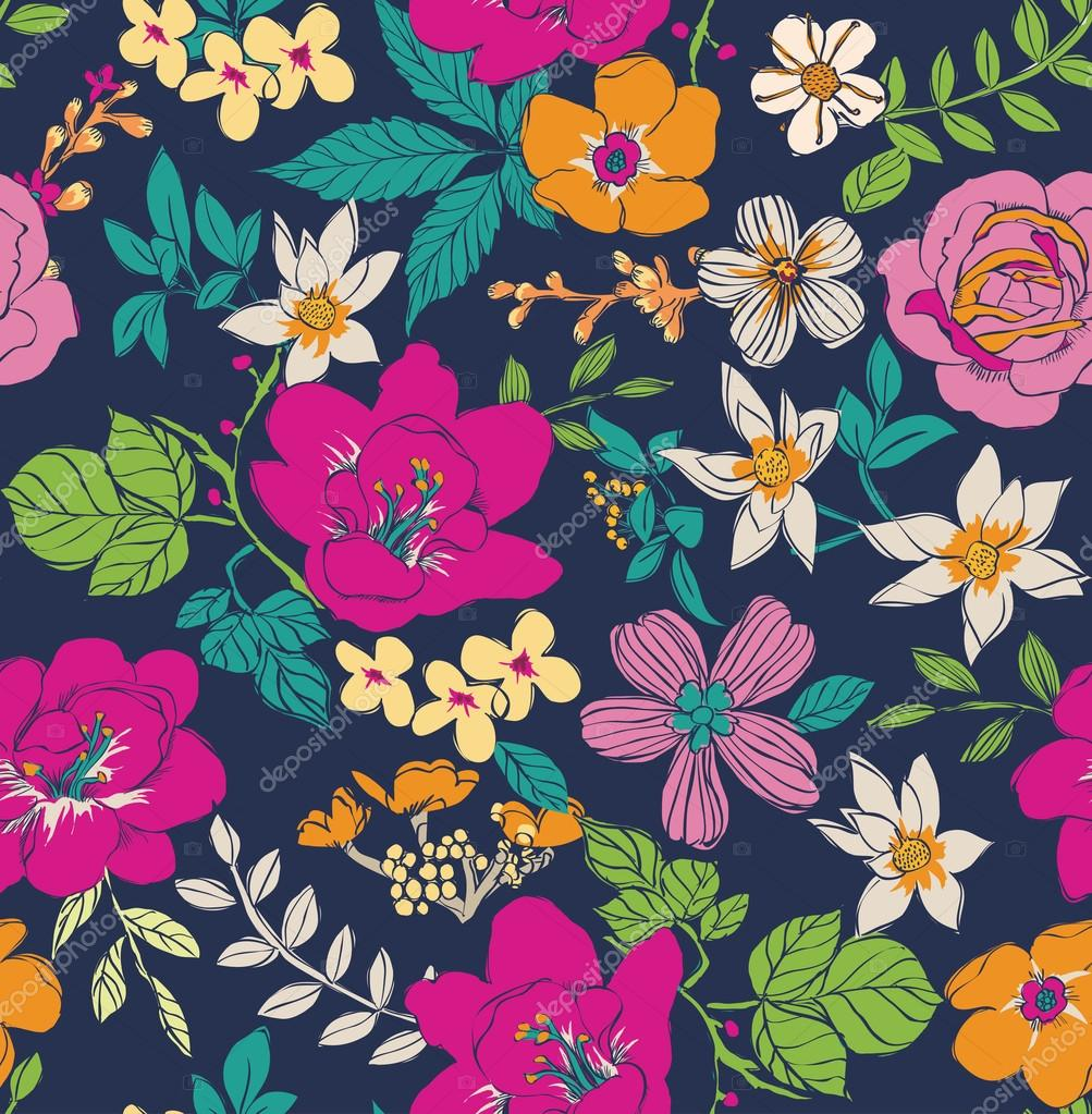 Sketch flower seamless pattern background