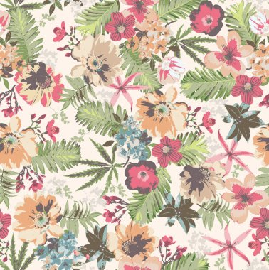 Seamless tropical flower pattern on background